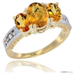 14k Yellow Gold Ladies Oval Natural Whisky Quartz 3-Stone Ring with Citrine Sides Diamond Accent