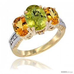 14K Yellow Gold Ladies 3-Stone Oval Natural Lemon Quartz Ring with Citrine Sides Diamond Accent