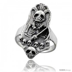 Sterling Silver Gothic Biker Reaper with Horns Ring 1 3/8 in wide