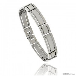 Gent's Stainless Steel Bar Bracelet, 1/2 in wide, 8.25 in