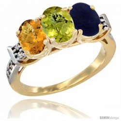 10K Yellow Gold Natural Whisky Quartz, Lemon Quartz & Lapis Ring 3-Stone Oval 7x5 mm Diamond Accent