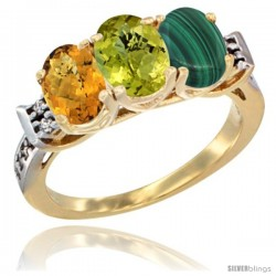 10K Yellow Gold Natural Whisky Quartz, Lemon Quartz & Malachite Ring 3-Stone Oval 7x5 mm Diamond Accent