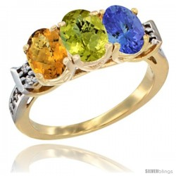 10K Yellow Gold Natural Whisky Quartz, Lemon Quartz & Tanzanite Ring 3-Stone Oval 7x5 mm Diamond Accent