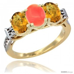 10K Yellow Gold Natural Coral & Whisky Quartz Sides Ring 3-Stone Oval 7x5 mm Diamond Accent