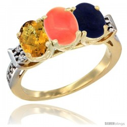 10K Yellow Gold Natural Whisky Quartz, Coral & Lapis Ring 3-Stone Oval 7x5 mm Diamond Accent