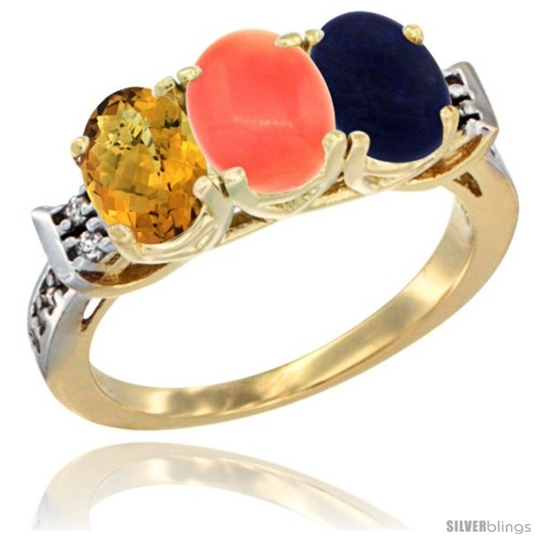 https://www.silverblings.com/45619-thickbox_default/10k-yellow-gold-natural-whisky-quartz-coral-lapis-ring-3-stone-oval-7x5-mm-diamond-accent.jpg