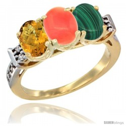 10K Yellow Gold Natural Whisky Quartz, Coral & Malachite Ring 3-Stone Oval 7x5 mm Diamond Accent