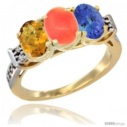 10K Yellow Gold Natural Whisky Quartz, Coral & Tanzanite Ring 3-Stone Oval 7x5 mm Diamond Accent