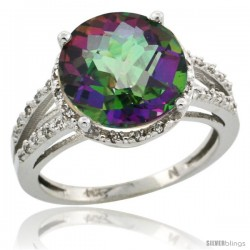 10k White Gold Diamond Mystic Topaz Ring 5.25 ct Round Shape 11 mm, 1/2 in wide