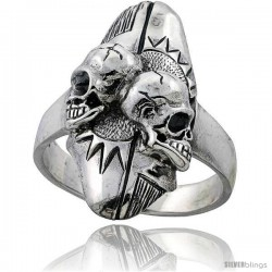 Sterling Silver Gothic Biker 2 Skull Ring with Sun Background 1 1/4 in wide