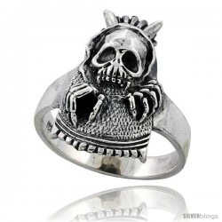 Sterling Silver Gothic Biker Skull with Horns Ring 1 in wide