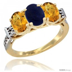 10K Yellow Gold Natural Lapis & Whisky Quartz Sides Ring 3-Stone Oval 7x5 mm Diamond Accent