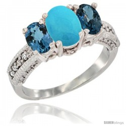 14k White Gold Ladies Oval Natural Turquoise 3-Stone Ring with London Blue Topaz Sides Diamond Accent