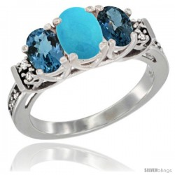 14K White Gold Natural Turquoise & London Blue Ring 3-Stone Oval with Diamond Accent
