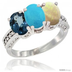 14K White Gold Natural London Blue Topaz, Turquoise & Opal Ring 3-Stone 7x5 mm Oval Diamond Accent