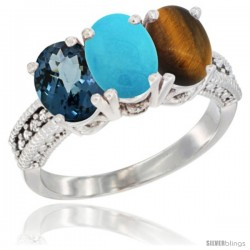14K White Gold Natural London Blue Topaz, Turquoise & Tiger Eye Ring 3-Stone 7x5 mm Oval Diamond Accent