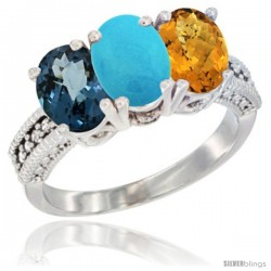 14K White Gold Natural London Blue Topaz, Turquoise & Whisky Quartz Ring 3-Stone 7x5 mm Oval Diamond Accent