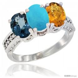 14K White Gold Natural London Blue Topaz, Turquoise & Whisky Quartz Ring 3-Stone 7x5 mm Oval Diamond Accent
