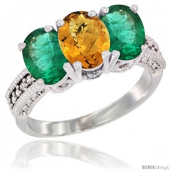14K White Gold Natural Whisky Quartz & Emerald Sides Ring 3-Stone 7x5 mm Oval Diamond Accent