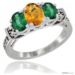14K White Gold Natural Whisky Quartz & Emerald Ring 3-Stone Oval with Diamond Accent