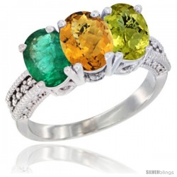 14K White Gold Natural Emerald, Whisky Quartz & Lemon Quartz Ring 3-Stone 7x5 mm Oval Diamond Accent
