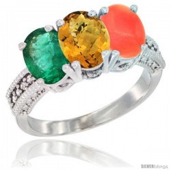 14K White Gold Natural Emerald, Whisky Quartz & Coral Ring 3-Stone 7x5 mm Oval Diamond Accent