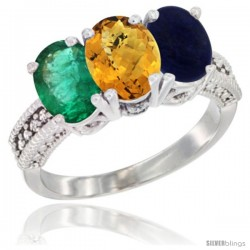 14K White Gold Natural Emerald, Whisky Quartz & Lapis Ring 3-Stone 7x5 mm Oval Diamond Accent