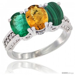 14K White Gold Natural Emerald, Whisky Quartz & Malachite Ring 3-Stone 7x5 mm Oval Diamond Accent