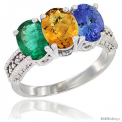 14K White Gold Natural Emerald, Whisky Quartz & Tanzanite Ring 3-Stone 7x5 mm Oval Diamond Accent