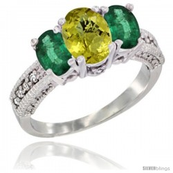14k White Gold Ladies Oval Natural Lemon Quartz 3-Stone Ring with Emerald Sides Diamond Accent