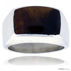 Gent's Sterling Silver Semi Dome Rectangular Tiger Eye Ring