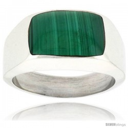 Gent's Sterling Silver Semi Dome Rectangular Malachite Ring