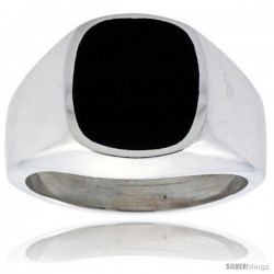 Gent's Sterling Silver Square Black Obsidian Ring -Style Xrs443