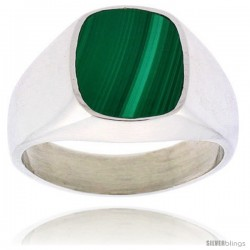 Gent's Sterling Silver Square Malachite Ring -Style Xrs444