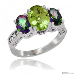 10K White Gold Ladies Natural Peridot Oval 3 Stone Ring with Mystic Topaz Sides Diamond Accent