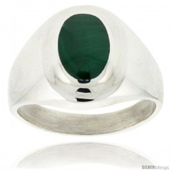 Gent's Sterling Silver Oval Malachite Ring