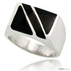 Gent's Sterling Silver Rectangular Striped Black Obsidian Ring