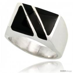 Gent's Sterling Silver Rectangular Striped Black Obsidian Ring