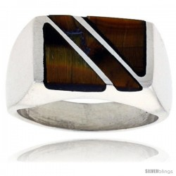 Gent's Sterling Silver Rectangular Striped Tiger Eye Ring