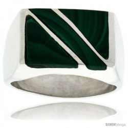 Gent's Sterling Silver Rectangular Striped Malachite Ring