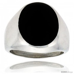 Gent's Sterling Silver Large Oval Black Obsidian Ring -Style Xrs452
