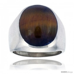 Gent's Sterling Silver Large Oval Tiger Eye Ring -Style Xrs453