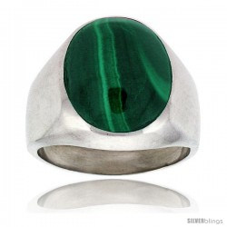 Gent's Sterling Silver Large Oval Malachite Ring -Style Xrs454