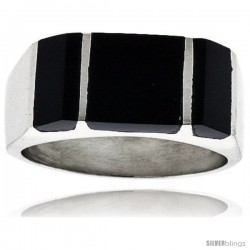 Gent's Sterling Silver Striped Black Obsidian Ring