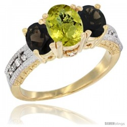 10K Yellow Gold Ladies Oval Natural Lemon Quartz 3-Stone Ring with Smoky Topaz Sides Diamond Accent