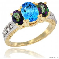 10K Yellow Gold Ladies Oval Natural Swiss Blue 3-Stone Ring with Mystic Topaz Sides Diamond Accent