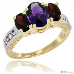 14k Yellow Gold Ladies Oval Natural Amethyst 3-Stone Ring with Garnet Sides Diamond Accent
