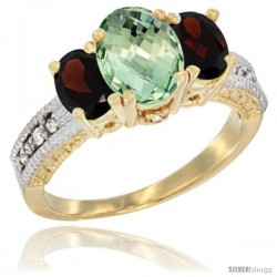 14k Yellow Gold Ladies Oval Natural Green Amethyst 3-Stone Ring with Garnet Sides Diamond Accent