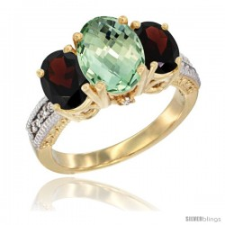 14K Yellow Gold Ladies 3-Stone Oval Natural Green Amethyst Ring with Garnet Sides Diamond Accent