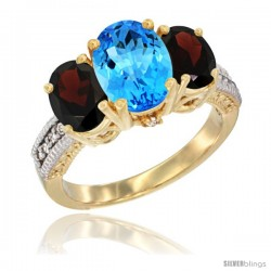 14K Yellow Gold Ladies 3-Stone Oval Natural Swiss Blue Topaz Ring with Garnet Sides Diamond Accent